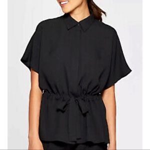 PROLOGUE Button Down Collared Tie Waist Blouse NWT